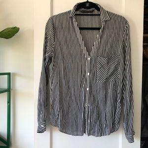 Zara black white stripe roll sleeve button down L